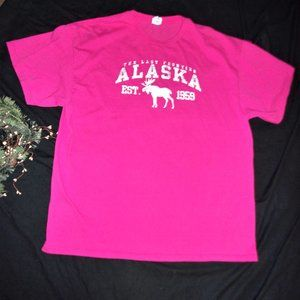2x womans  pink alaska moose tourist tee shirt